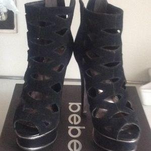 Black cutout suede platform heels  6